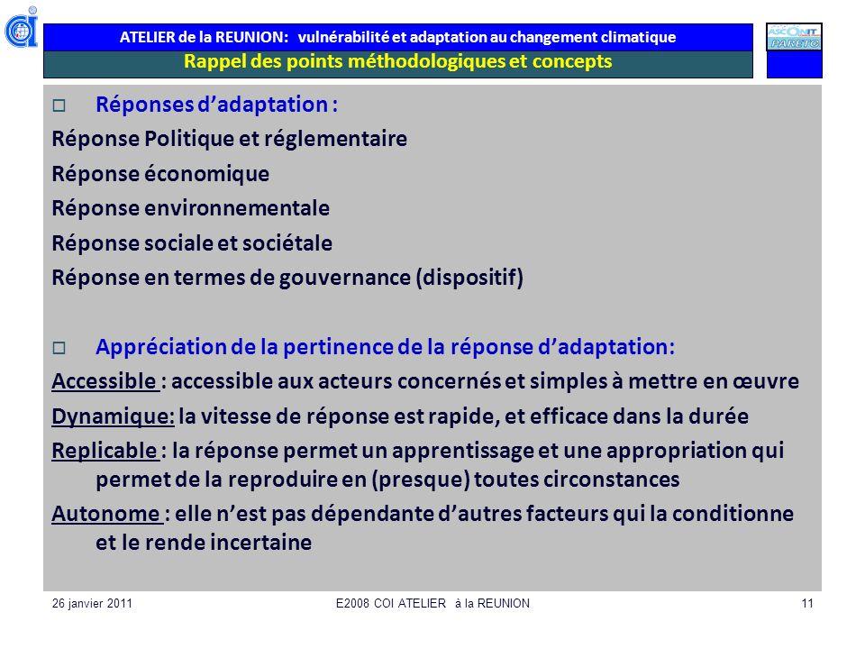 ATELIER de la REUNION: vulnérabilité et adaptation au changement climatique 26 janvier 2011E2008 COI ATELIER à la REUNION11 Rappel des points méthodol
