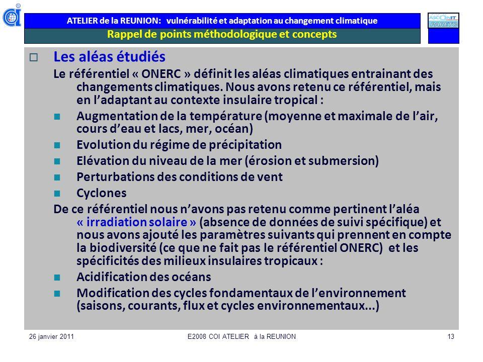 ATELIER de la REUNION: vulnérabilité et adaptation au changement climatique 26 janvier 2011E2008 COI ATELIER à la REUNION13 Rappel de points méthodolo