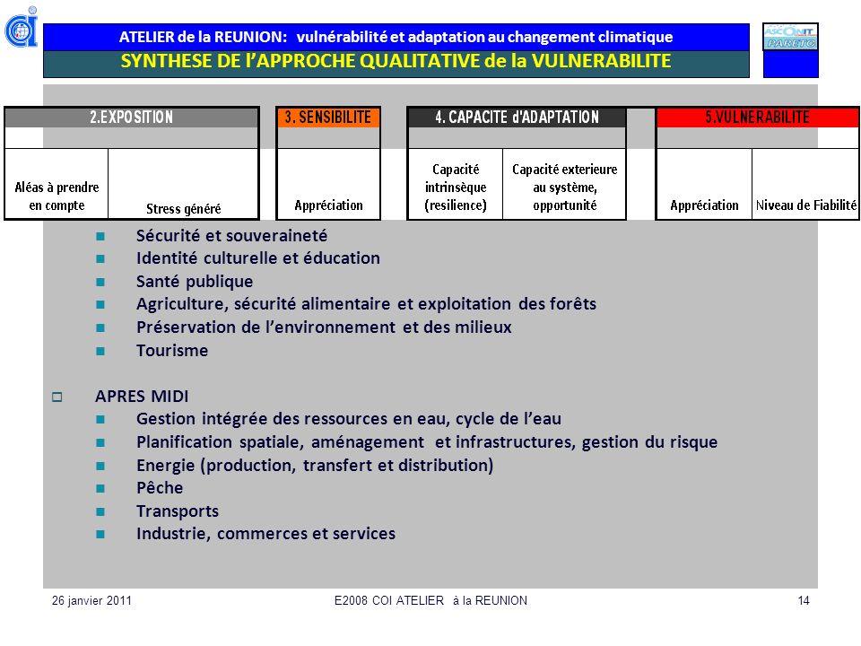 ATELIER de la REUNION: vulnérabilité et adaptation au changement climatique 26 janvier 2011E2008 COI ATELIER à la REUNION14 SYNTHESE DE lAPPROCHE QUAL
