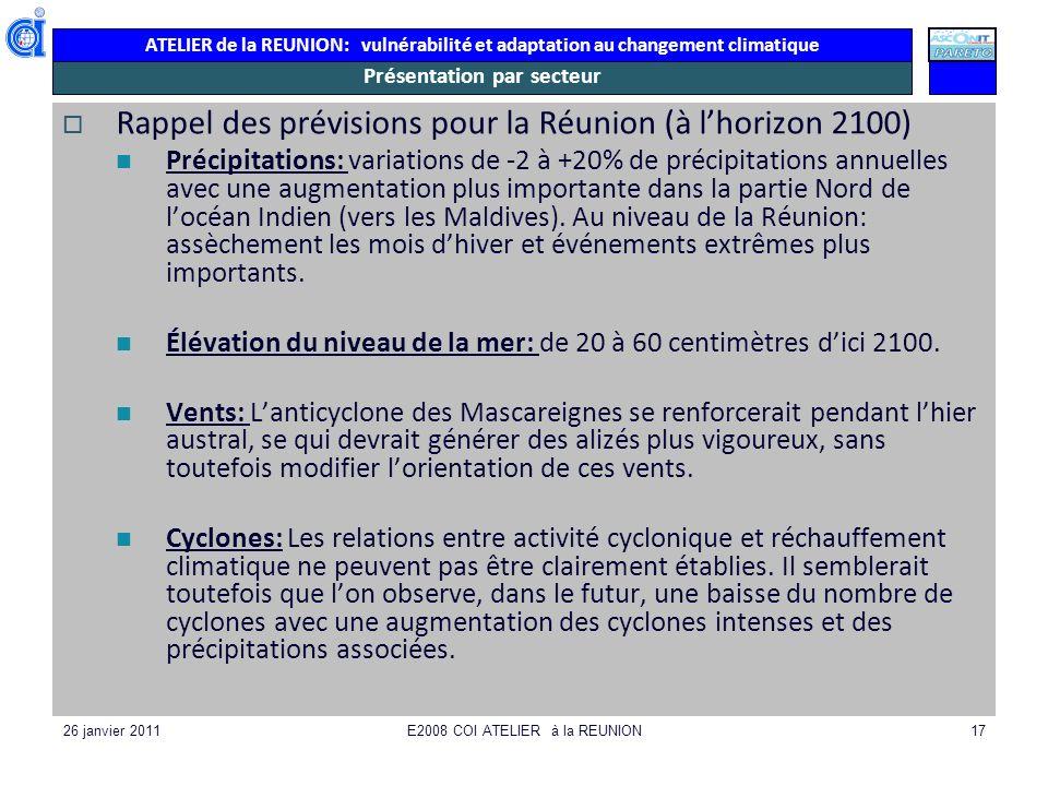 ATELIER de la REUNION: vulnérabilité et adaptation au changement climatique 26 janvier 2011E2008 COI ATELIER à la REUNION17 Présentation par secteur R