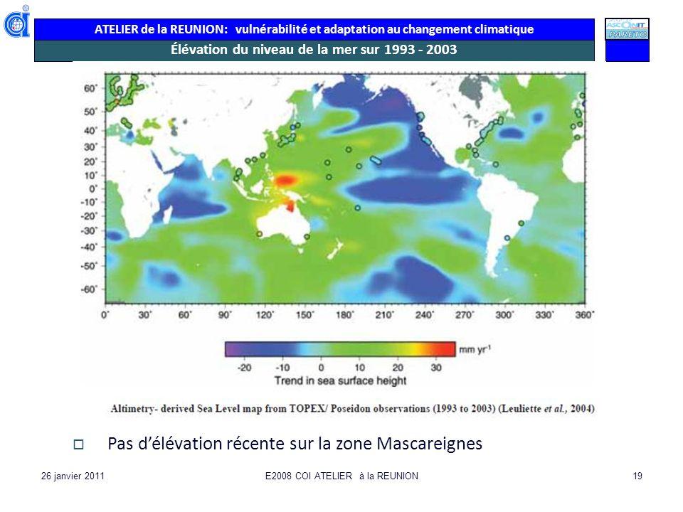 ATELIER de la REUNION: vulnérabilité et adaptation au changement climatique 26 janvier 2011E2008 COI ATELIER à la REUNION19 Élévation du niveau de la