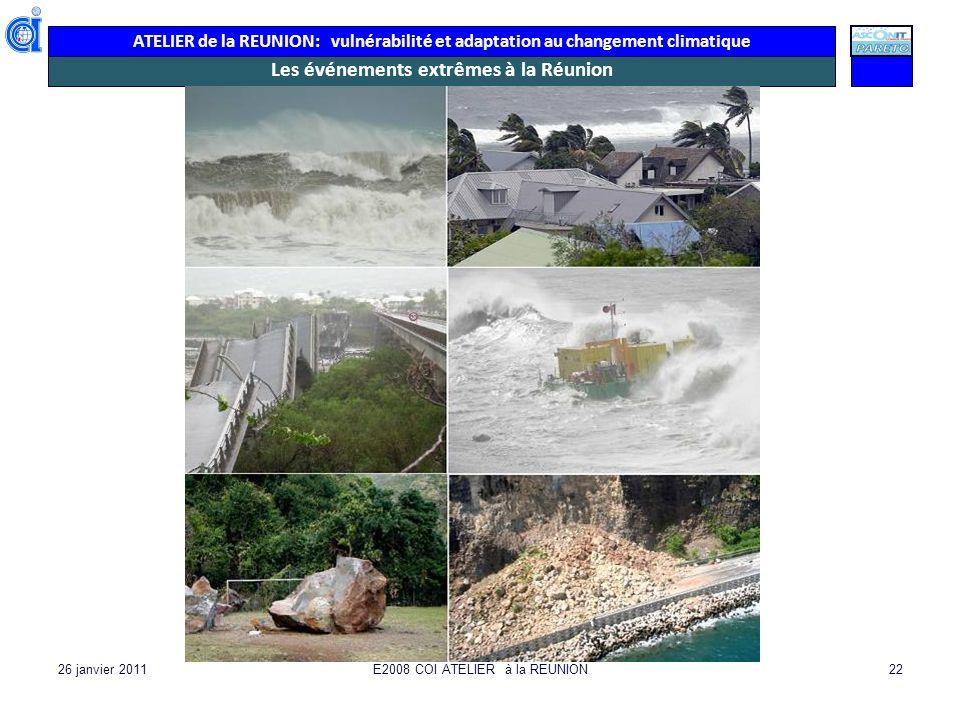 ATELIER de la REUNION: vulnérabilité et adaptation au changement climatique 26 janvier 2011E2008 COI ATELIER à la REUNION22 Les événements extrêmes à