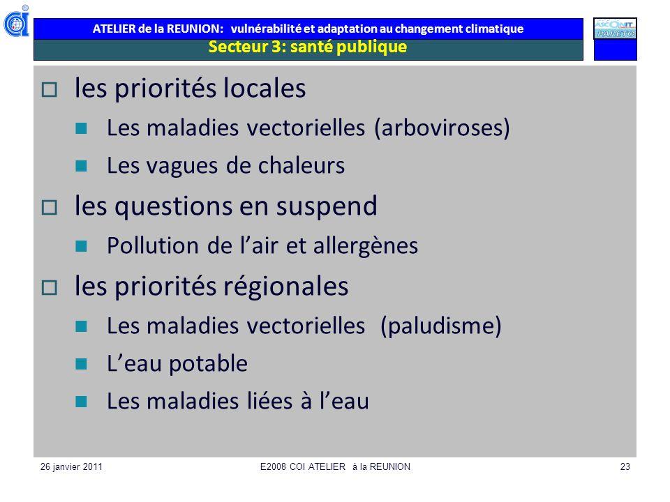 ATELIER de la REUNION: vulnérabilité et adaptation au changement climatique 26 janvier 2011E2008 COI ATELIER à la REUNION23 Secteur 3: santé publique