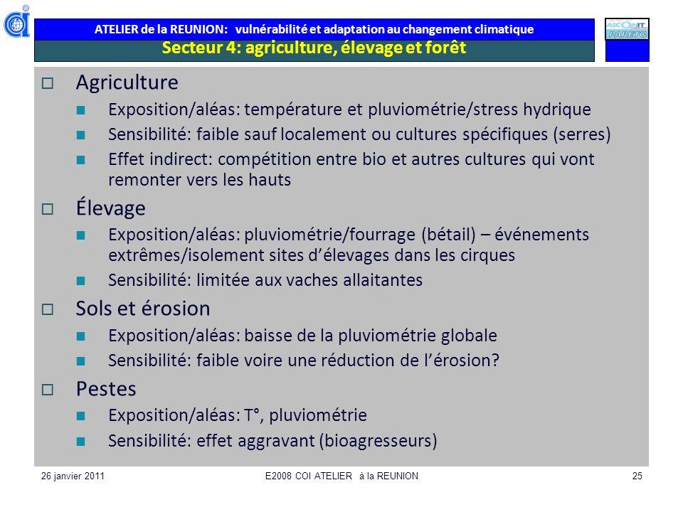 ATELIER de la REUNION: vulnérabilité et adaptation au changement climatique 26 janvier 2011E2008 COI ATELIER à la REUNION25 Secteur 4: agriculture, él
