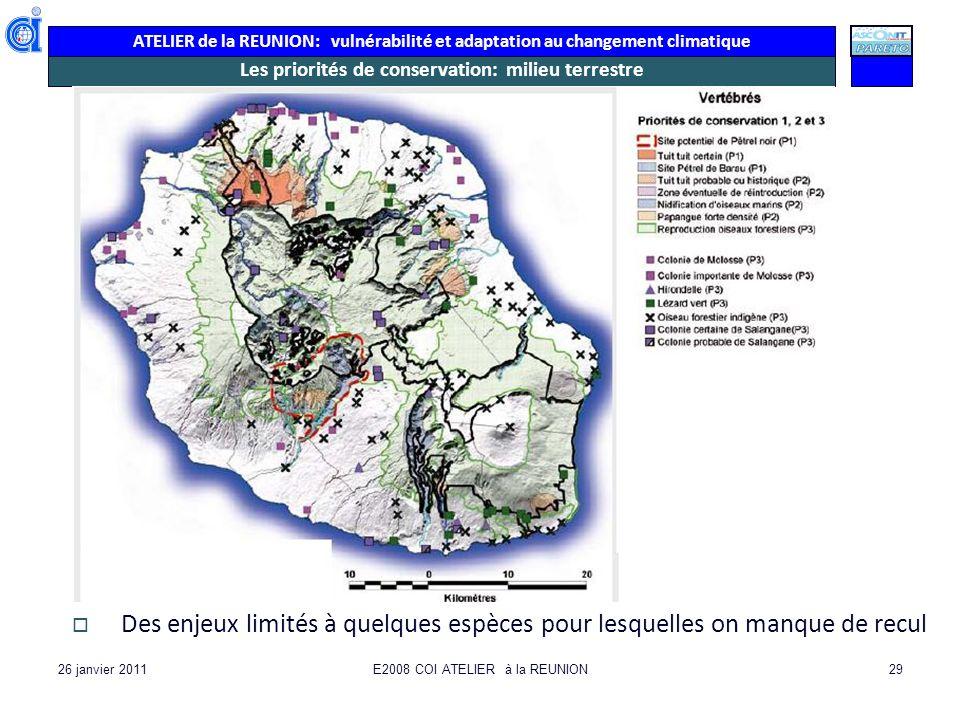 ATELIER de la REUNION: vulnérabilité et adaptation au changement climatique 26 janvier 2011E2008 COI ATELIER à la REUNION29 Les priorités de conservat