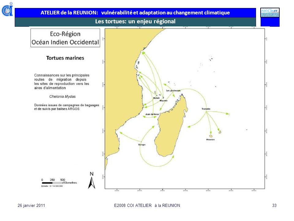ATELIER de la REUNION: vulnérabilité et adaptation au changement climatique 26 janvier 2011E2008 COI ATELIER à la REUNION33 Les tortues: un enjeu régi