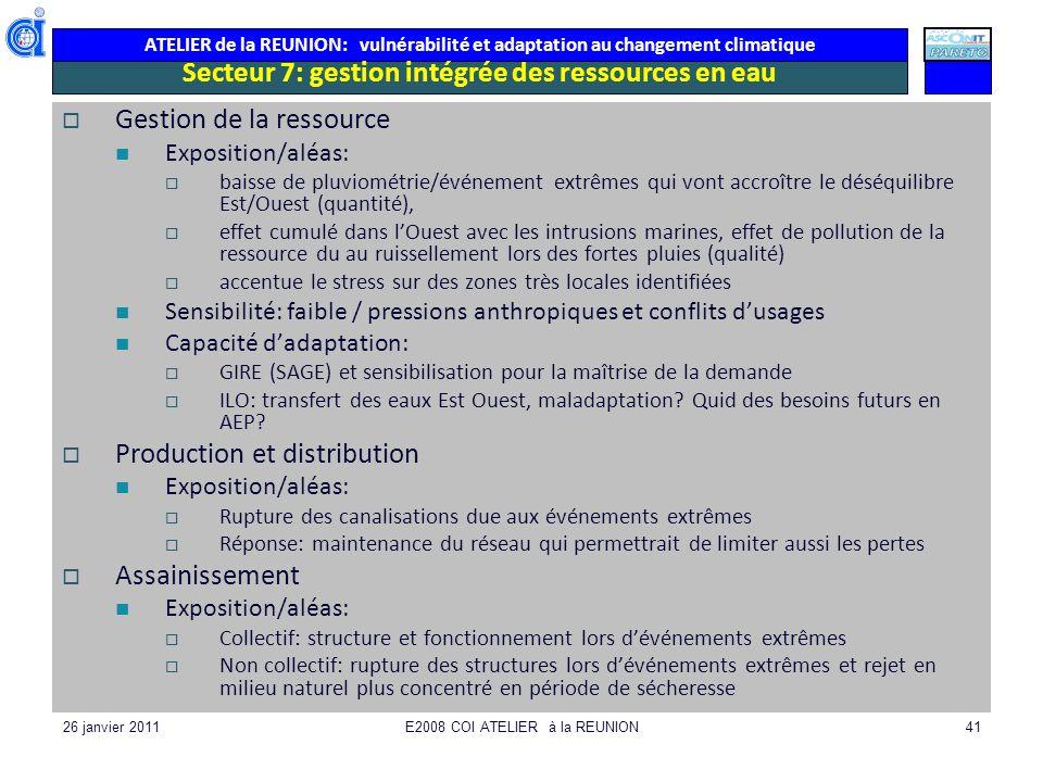 ATELIER de la REUNION: vulnérabilité et adaptation au changement climatique 26 janvier 2011E2008 COI ATELIER à la REUNION41 Secteur 7: gestion intégré