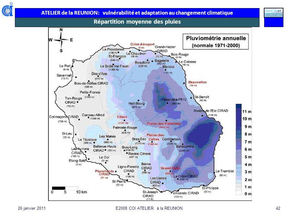 ATELIER de la REUNION: vulnérabilité et adaptation au changement climatique 26 janvier 2011E2008 COI ATELIER à la REUNION42 Répartition moyenne des pl