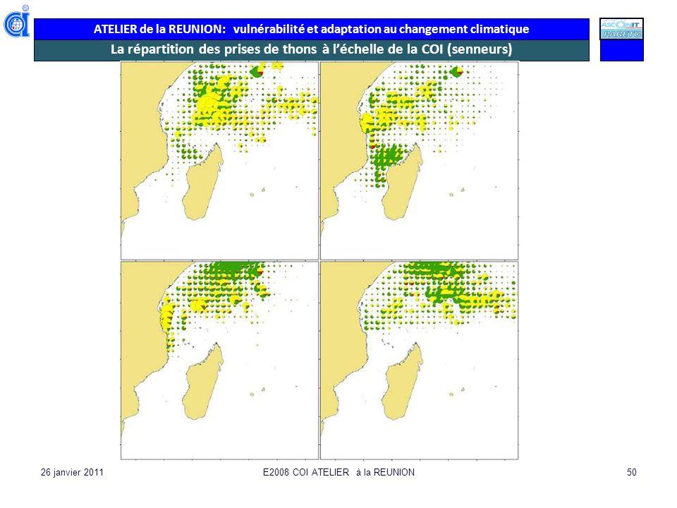 ATELIER de la REUNION: vulnérabilité et adaptation au changement climatique 26 janvier 2011E2008 COI ATELIER à la REUNION50 La répartition des prises