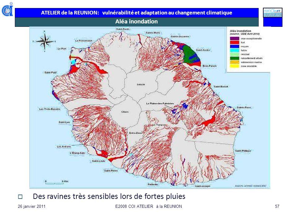 ATELIER de la REUNION: vulnérabilité et adaptation au changement climatique 26 janvier 2011E2008 COI ATELIER à la REUNION57 Aléa inondation Des ravine