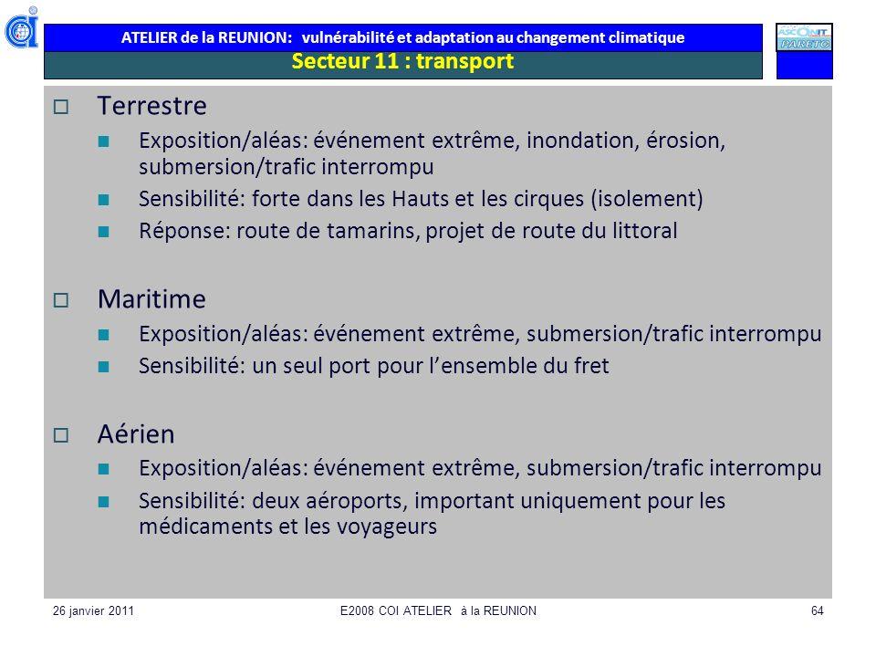 ATELIER de la REUNION: vulnérabilité et adaptation au changement climatique 26 janvier 2011E2008 COI ATELIER à la REUNION64 Secteur 11 : transport Ter