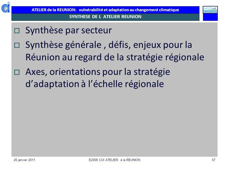 ATELIER de la REUNION: vulnérabilité et adaptation au changement climatique 26 janvier 2011E2008 COI ATELIER à la REUNION67 SYNTHESE DE L ATELIER REUN