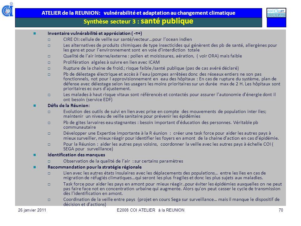 ATELIER de la REUNION: vulnérabilité et adaptation au changement climatique 26 janvier 2011E2008 COI ATELIER à la REUNION70 Synthèse secteur 3 : santé