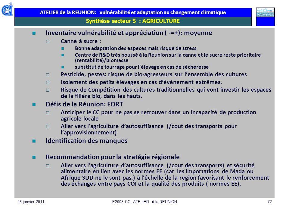 ATELIER de la REUNION: vulnérabilité et adaptation au changement climatique 26 janvier 2011E2008 COI ATELIER à la REUNION72 Synthèse secteur 5 : AGRIC