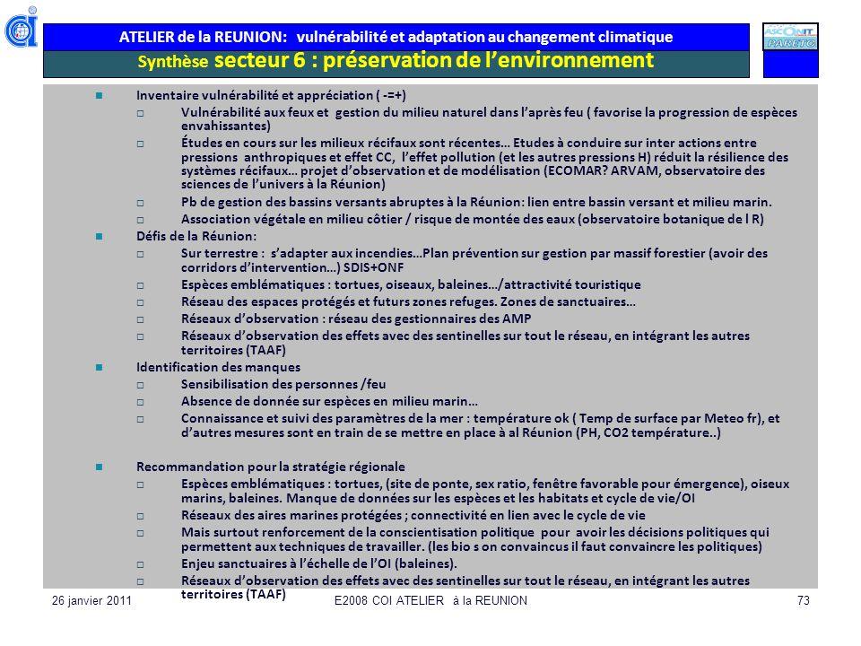 ATELIER de la REUNION: vulnérabilité et adaptation au changement climatique 26 janvier 2011E2008 COI ATELIER à la REUNION73 Synthèse secteur 6 : prése