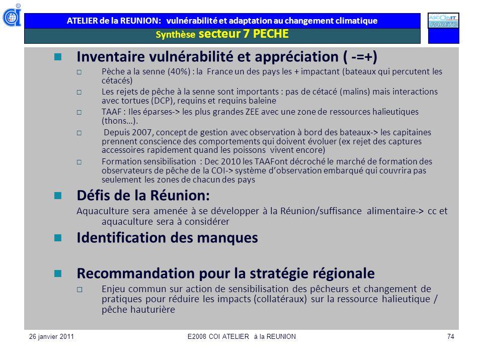 ATELIER de la REUNION: vulnérabilité et adaptation au changement climatique 26 janvier 2011E2008 COI ATELIER à la REUNION74 Synthèse secteur 7 PECHE I