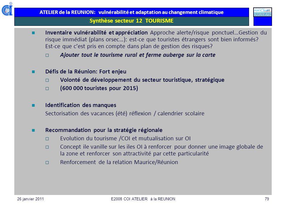 ATELIER de la REUNION: vulnérabilité et adaptation au changement climatique 26 janvier 2011E2008 COI ATELIER à la REUNION79 Synthèse secteur 12 TOURIS