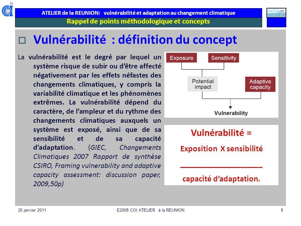 ATELIER de la REUNION: vulnérabilité et adaptation au changement climatique 26 janvier 2011E2008 COI ATELIER à la REUNION8 Rappel de points méthodolog