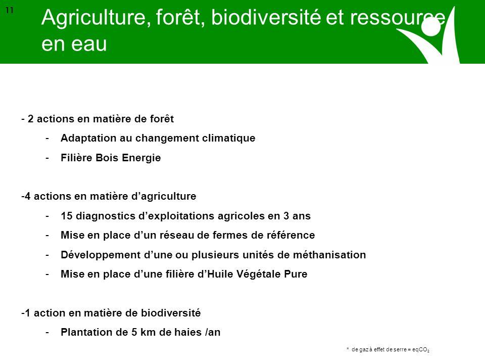 Source ADEME * de gaz à effet de serre = eqCO 2 11 - 2 actions en matière de forêt -Adaptation au changement climatique -Filière Bois Energie -4 actio