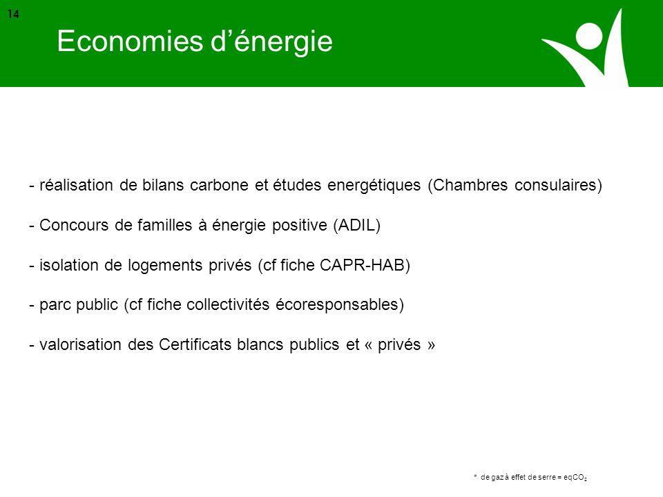 Source ADEME * de gaz à effet de serre = eqCO 2 14 Economies dénergie - réalisation de bilans carbone et études energétiques (Chambres consulaires) -