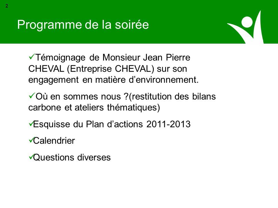 Témoignage de Monsieur Jean Pierre CHEVAL (Entreprise CHEVAL) sur son engagement en matière denvironnement. Où en sommes nous ?(restitution des bilans