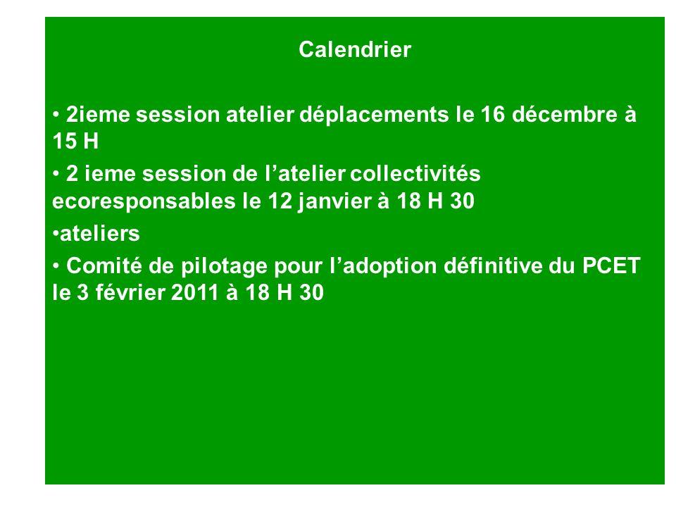 Calendrier 2ieme session atelier déplacements le 16 décembre à 15 H 2 ieme session de latelier collectivités ecoresponsables le 12 janvier à 18 H 30 a