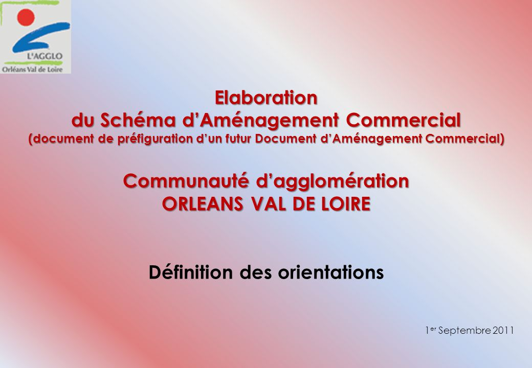 Elaboration du Schéma dAménagement Commercial (document de préfiguration dun futur Document dAménagement Commercial) Communauté dagglomération ORLEANS