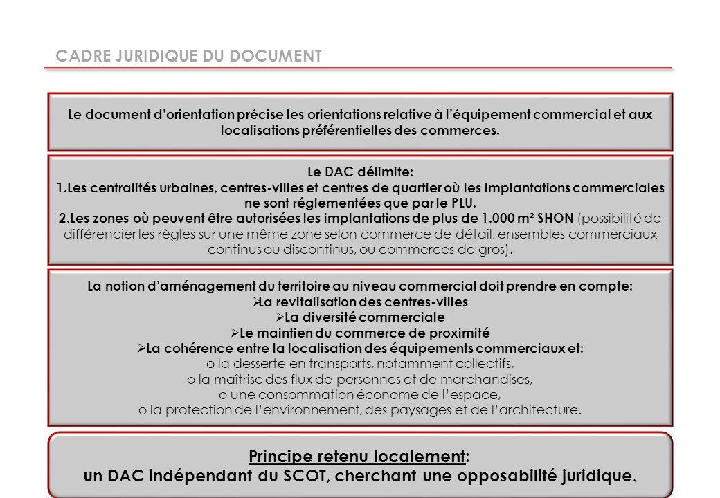Le document dorientation précise les orientations relative à léquipement commercial et aux localisations préférentielles des commerces.
