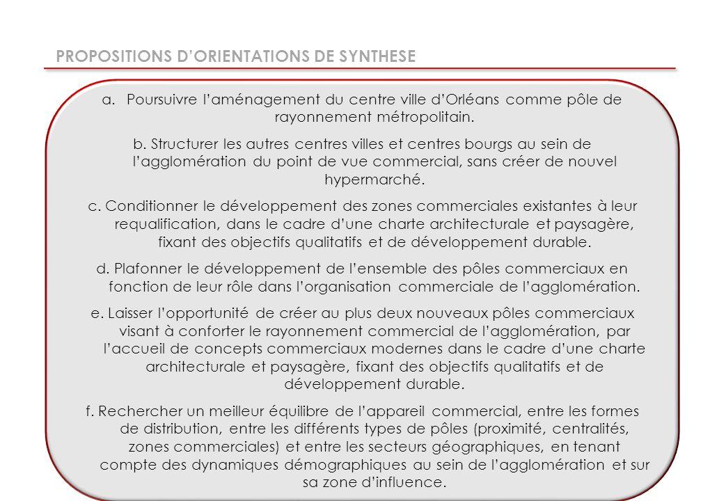 PROPOSITIONS DORIENTATIONS DE SYNTHESE a.Poursuivre laménagement du centre ville dOrléans comme pôle de rayonnement métropolitain.
