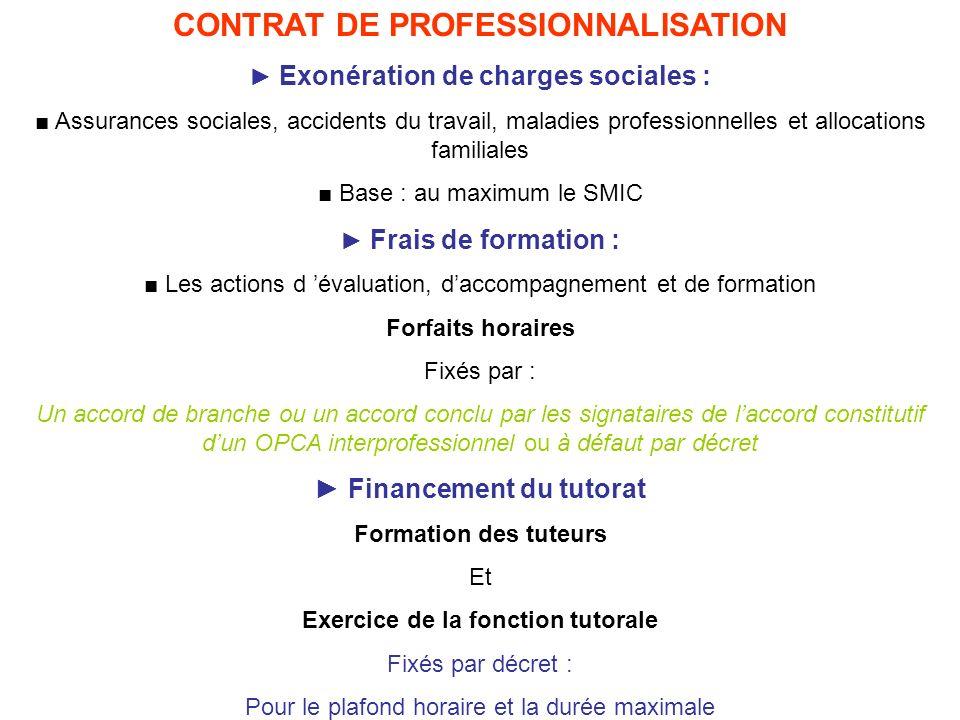 CONTRAT DE PROFESSIONNALISATION Exonération de charges sociales : Assurances sociales, accidents du travail, maladies professionnelles et allocations