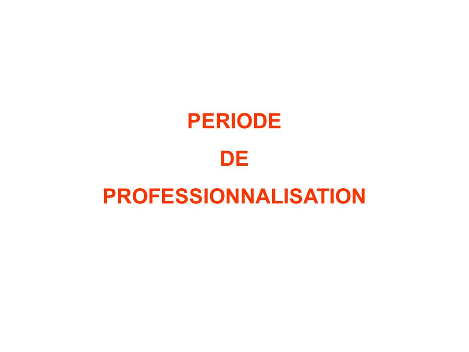 PERIODE DE PROFESSIONNALISATION