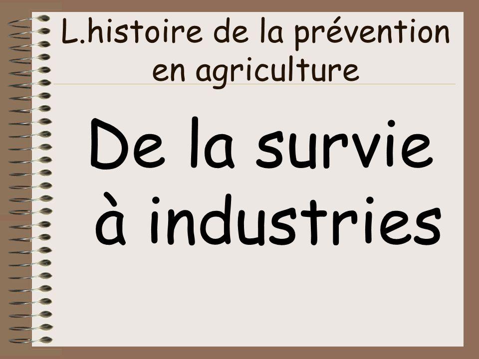 L.histoire de la prévention en agriculture De la survie à industries