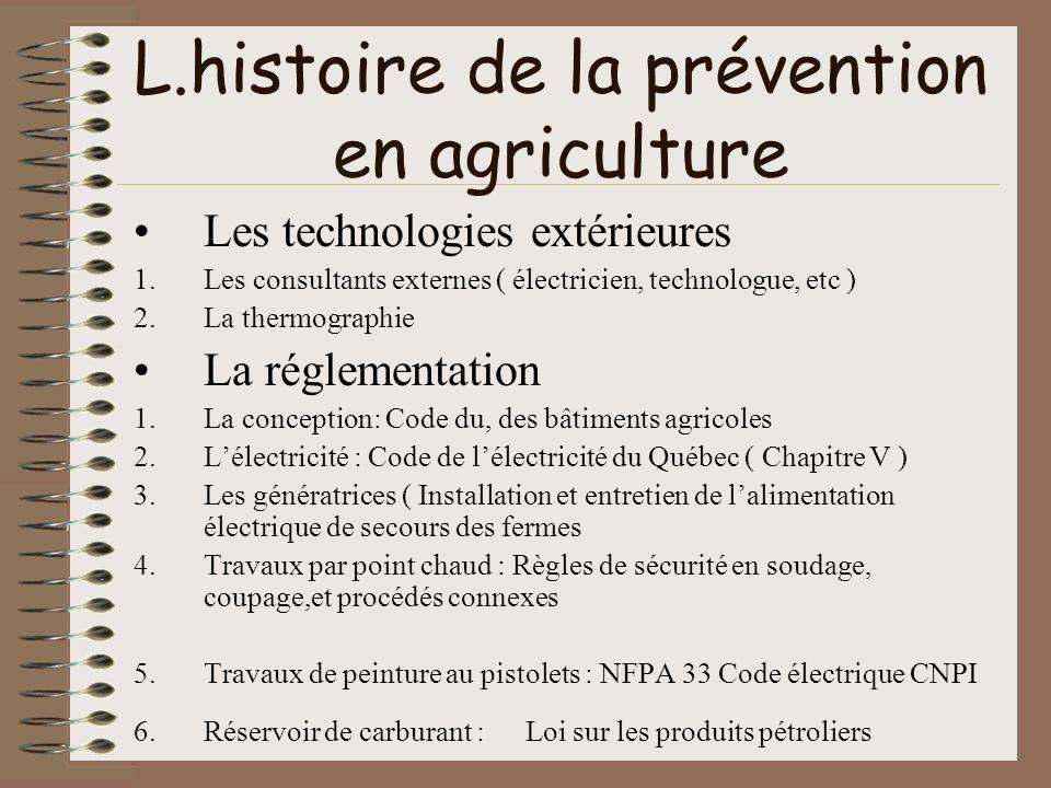 L.histoire de la prévention en agriculture Les technologies extérieures 1.Les consultants externes ( électricien, technologue, etc ) 2.La thermographi