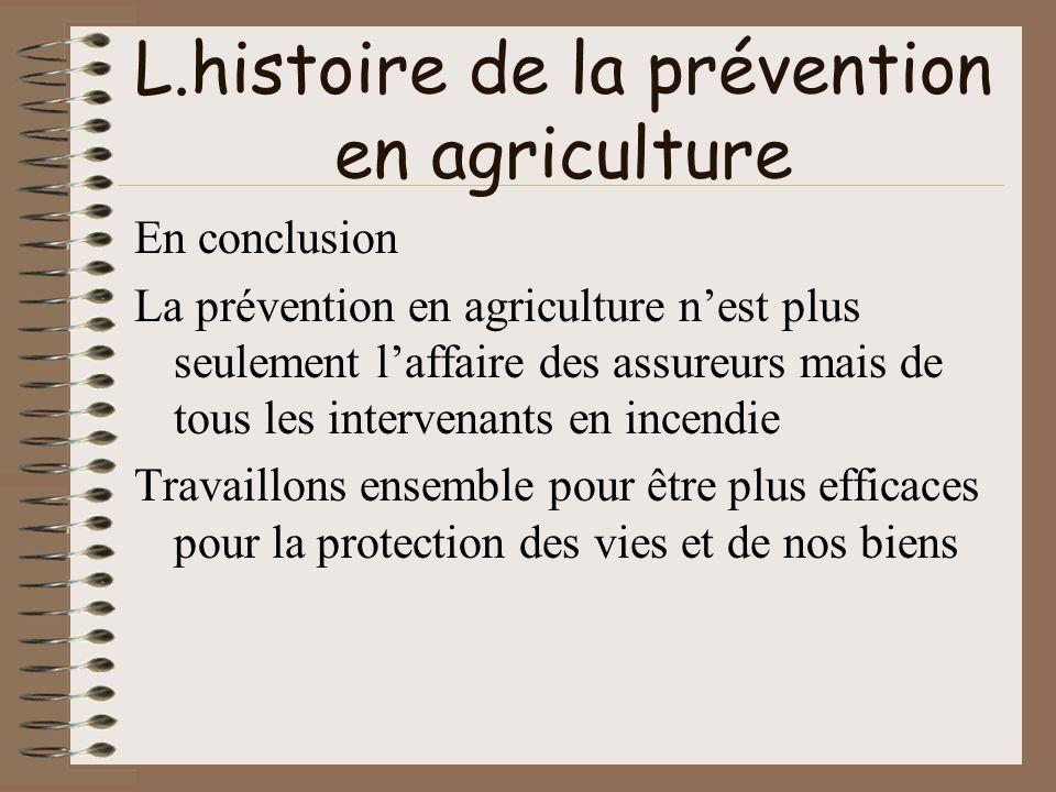 L.histoire de la prévention en agriculture En conclusion La prévention en agriculture nest plus seulement laffaire des assureurs mais de tous les inte