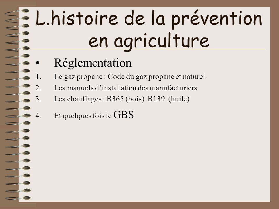 L.histoire de la prévention en agriculture Réglementation 1.Le gaz propane : Code du gaz propane et naturel 2.Les manuels dinstallation des manufactur