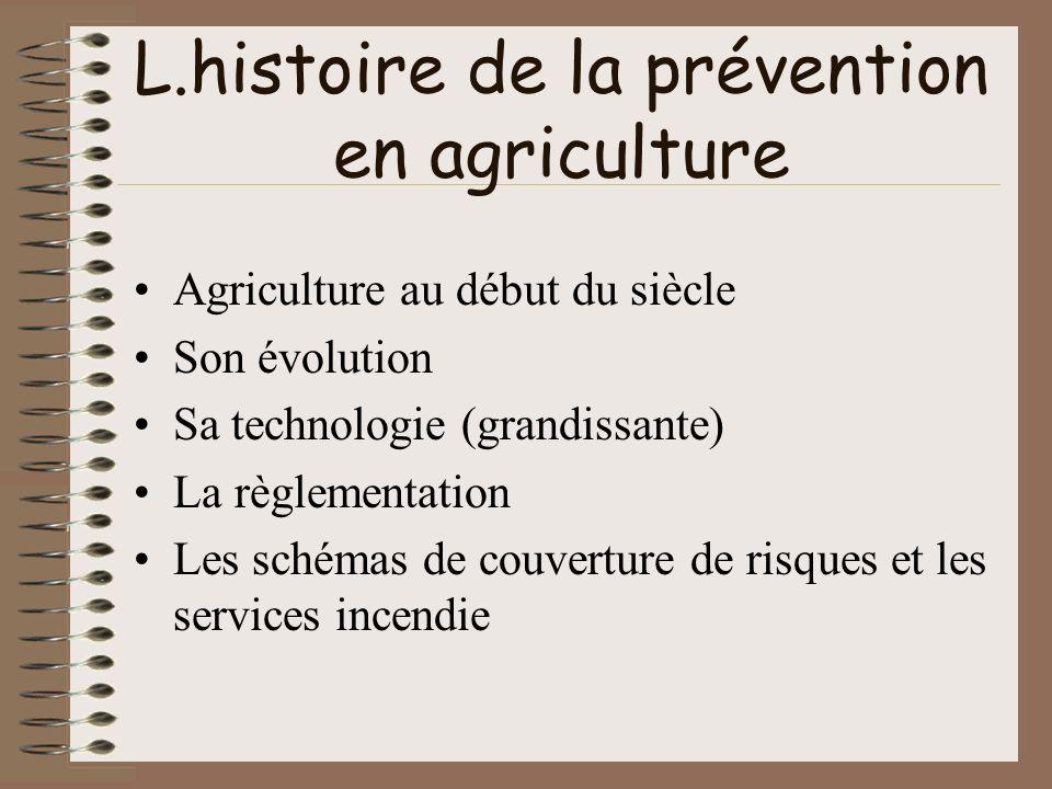 L.histoire de la prévention en agriculture Agriculture au début du siècle Son évolution Sa technologie (grandissante) La règlementation Les schémas de