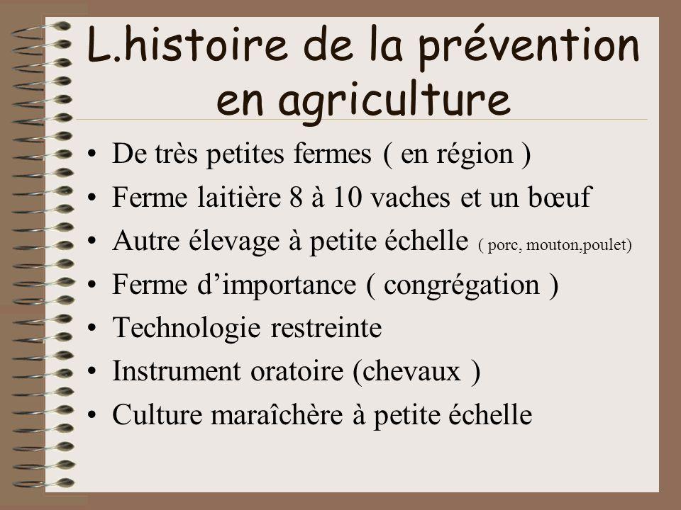 L.histoire de la prévention en agriculture De très petites fermes ( en région ) Ferme laitière 8 à 10 vaches et un bœuf Autre élevage à petite échelle