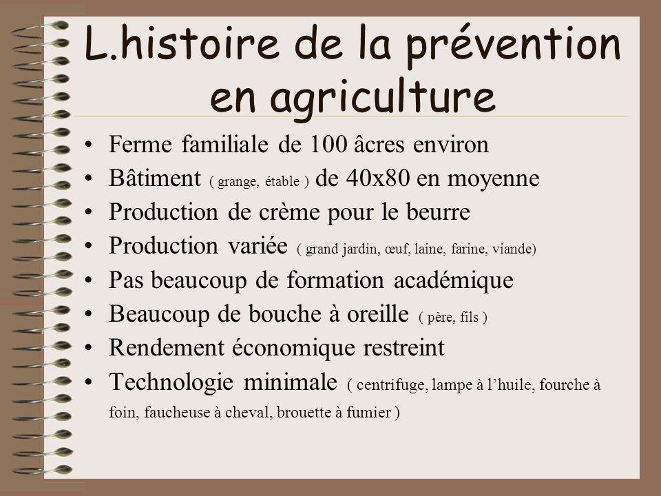 L.histoire de la prévention en agriculture Ferme familiale de 100 âcres environ Bâtiment ( grange, étable ) de 40x80 en moyenne Production de crème po