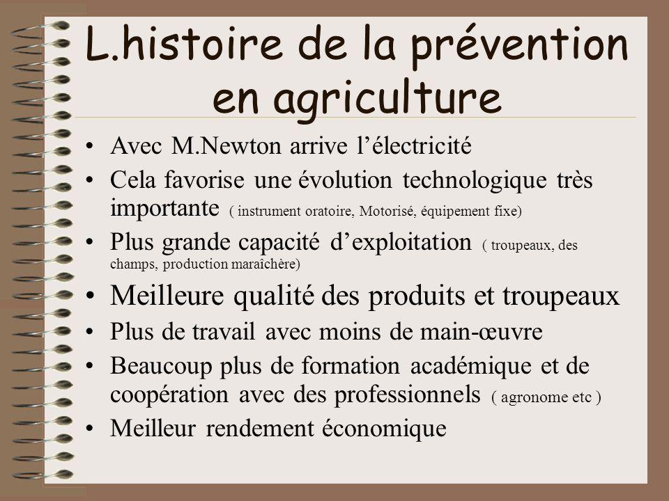 L.histoire de la prévention en agriculture Avec M.Newton arrive lélectricité Cela favorise une évolution technologique très importante ( instrument or