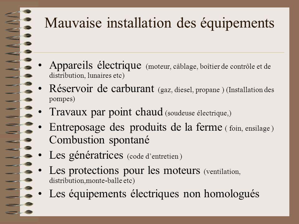 Mauvaise installation des équipements Appareils électrique (moteur, câblage, boîtier de contrôle et de distribution, lunaires etc) Réservoir de carbur