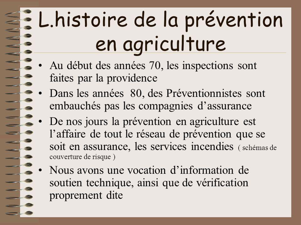 L.histoire de la prévention en agriculture Au début des années 70, les inspections sont faites par la providence Dans les années 80, des Préventionnis