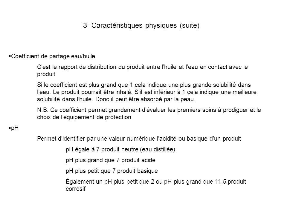 3- Caractéristiques physiques (suite) Coefficient de partage eau/huile Cest le rapport de distribution du produit entre lhuile et leau en contact avec