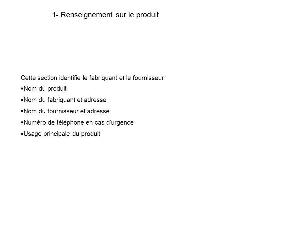 1- Renseignement sur le produit Cette section identifie le fabriquant et le fournisseur Nom du produit Nom du fabriquant et adresse Nom du fournisseur