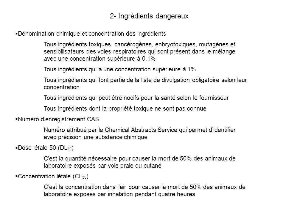 2- Ingrédients dangereux Dénomination chimique et concentration des ingrédients Tous ingrédients toxiques, cancérogènes, enbryotoxiques, mutagènes et