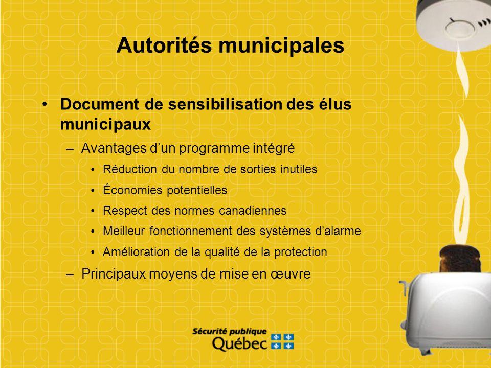 Autorités municipales Document de sensibilisation des élus municipaux –Avantages dun programme intégré Réduction du nombre de sorties inutiles Économi