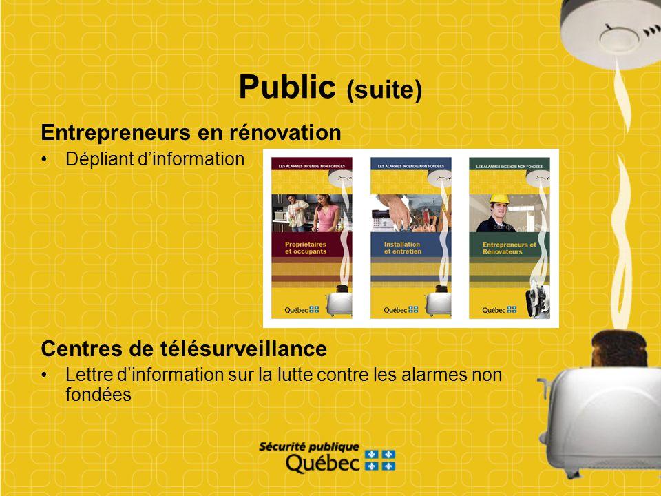 Public (suite) Entrepreneurs en rénovation Dépliant dinformation Centres de télésurveillance Lettre dinformation sur la lutte contre les alarmes non f