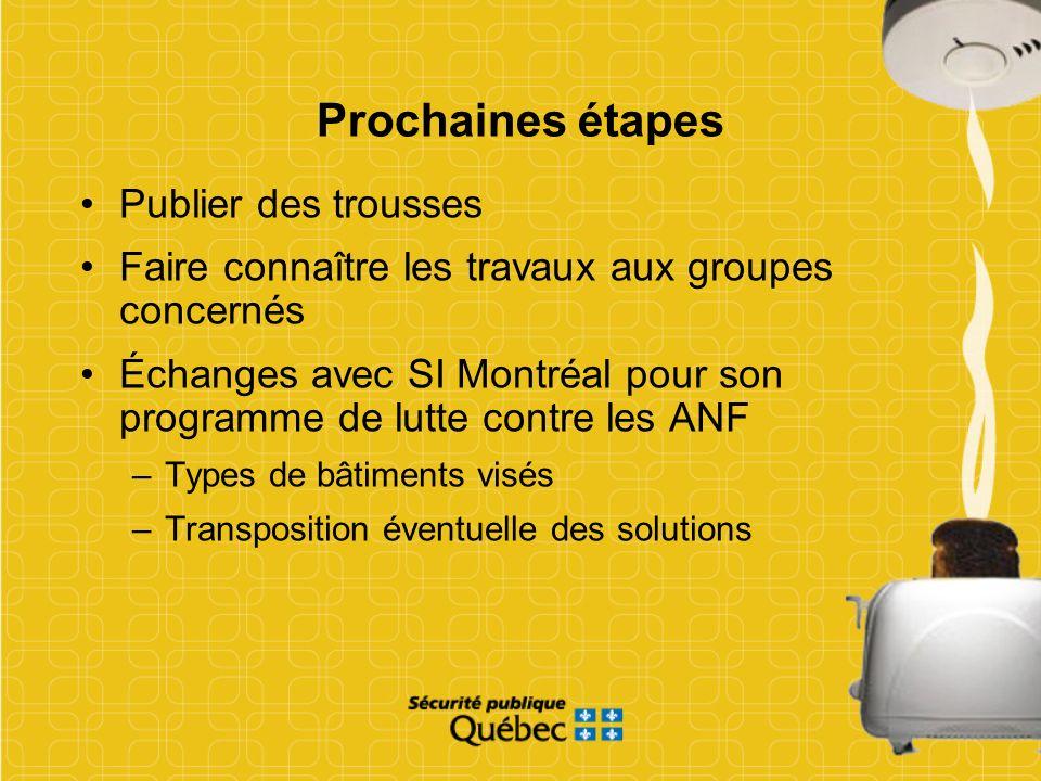 Prochaines étapes Publier des trousses Faire connaître les travaux aux groupes concernés Échanges avec SI Montréal pour son programme de lutte contre