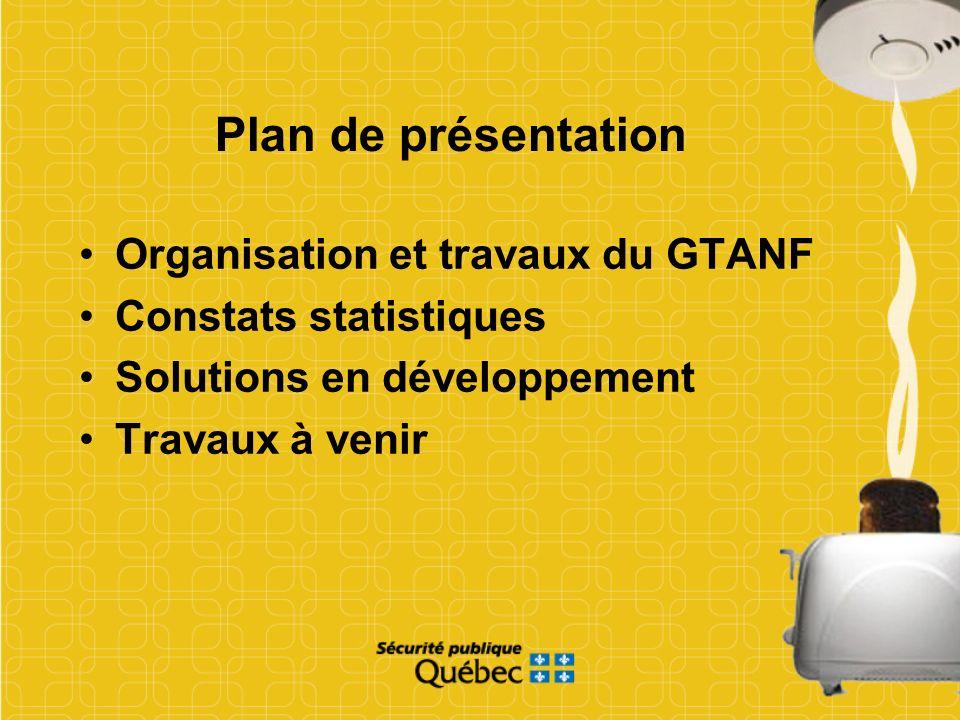 Plan de présentation Organisation et travaux du GTANF Constats statistiques Solutions en développement Travaux à venir