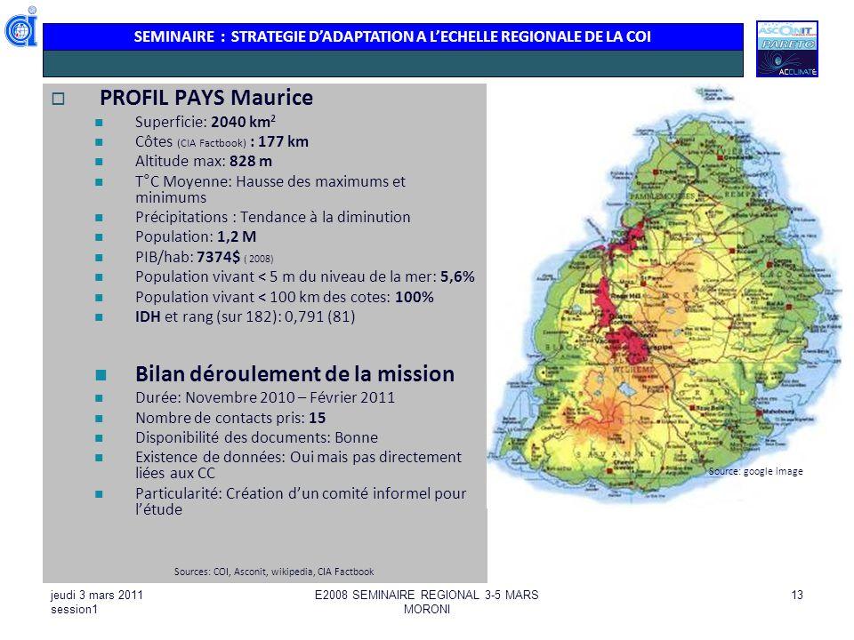 SEMINAIRE : STRATEGIE DADAPTATION A LECHELLE REGIONALE DE LA COI jeudi 3 mars 2011 session1 E2008 SEMINAIRE REGIONAL 3-5 MARS MORONI 13 PROFIL PAYS Ma