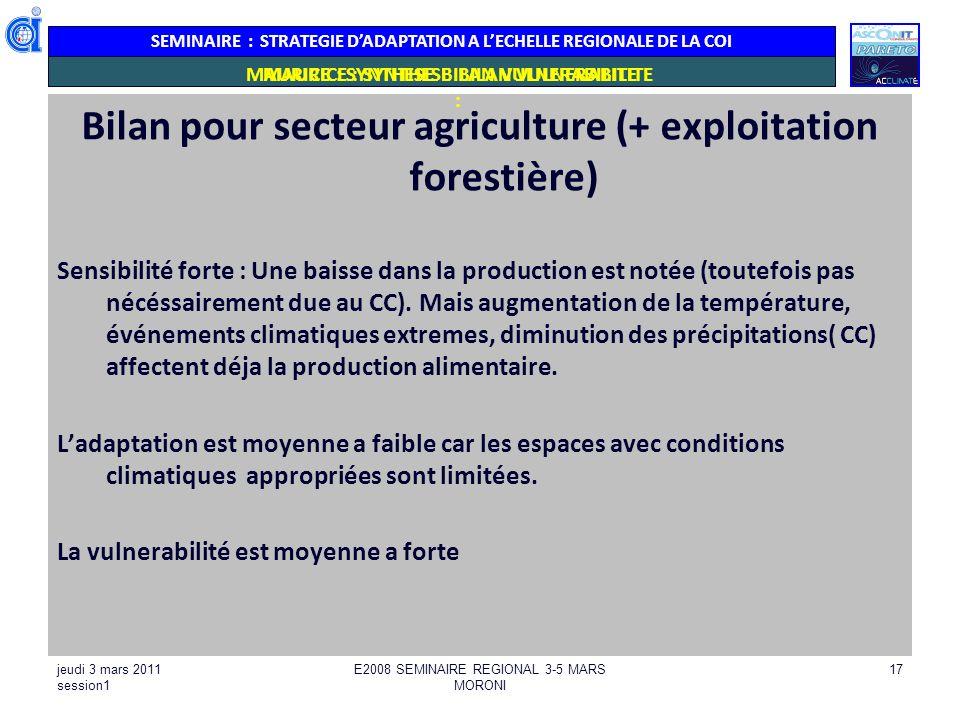 SEMINAIRE : STRATEGIE DADAPTATION A LECHELLE REGIONALE DE LA COI MAURICE : SYNTHESE BILAN VULNERABILITE Bilan pour secteur agriculture (+ exploitation